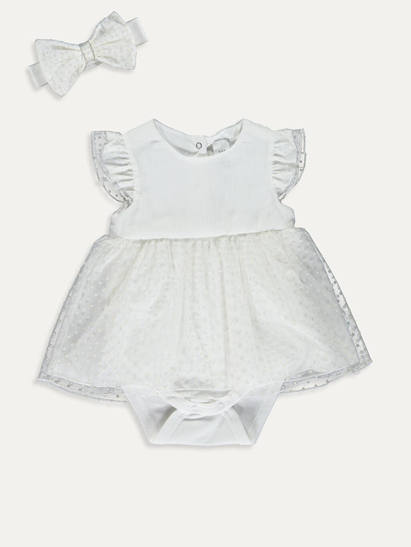 Beyaz Kız Bebek Çıtçıtlı Body ve Saç Bandı 9SC641Z1 LC Waikiki
