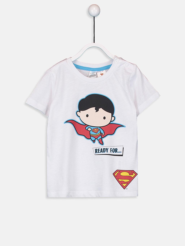 Beyaz Erkek Bebek Superman Baskılı Tişört 9SC759Z1 LC Waikiki