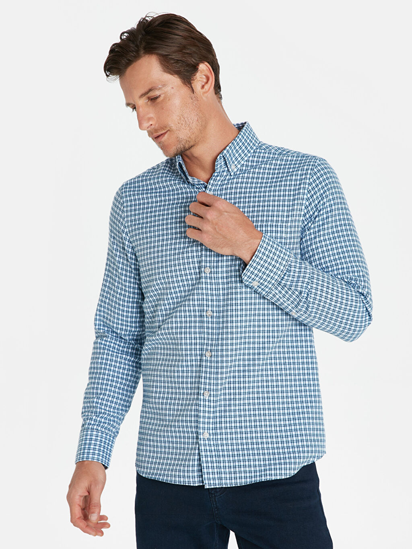 Mavi Regular Fit Ekose Uzun Kollu Gömlek 9W0501Z8 LC Waikiki