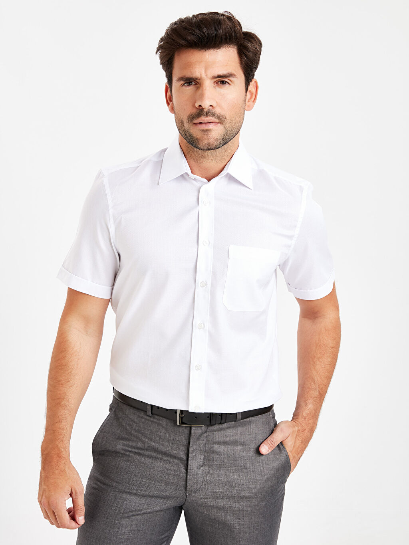Beyaz Regular Fit Kısa Kollu Armürlü Gömlek 9W0758Z8 LC Waikiki