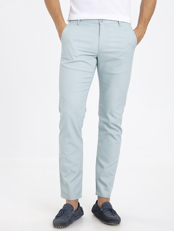%71 Pamuk %26 Polyester %3 Elastan Normal Bel Dar Pilesiz Pantolon Slim Fit Dokulu Pantolon