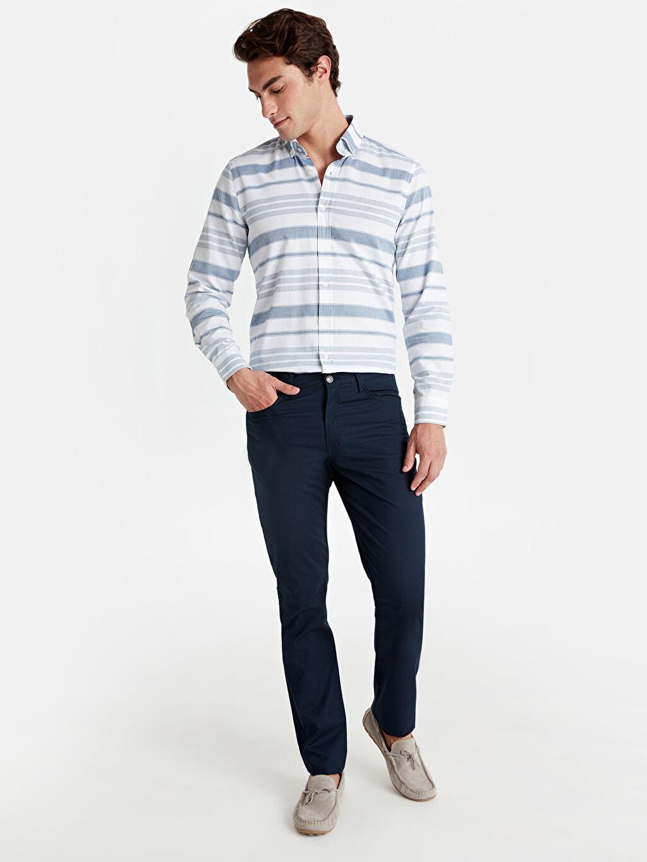 Lacivert Slim Fit Armürlü Pantolon 9W0893Z8 LC Waikiki