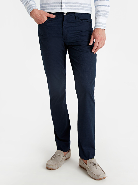 %97 Pamuk %3 Elastan Dar Pilesiz Pantolon Normal Bel Slim Fit Armürlü Pantolon