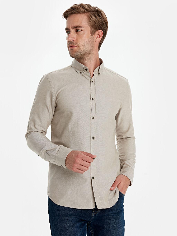 Bej Slim Fit Oxford Basic Gömlek 9W1096Z8 LC Waikiki