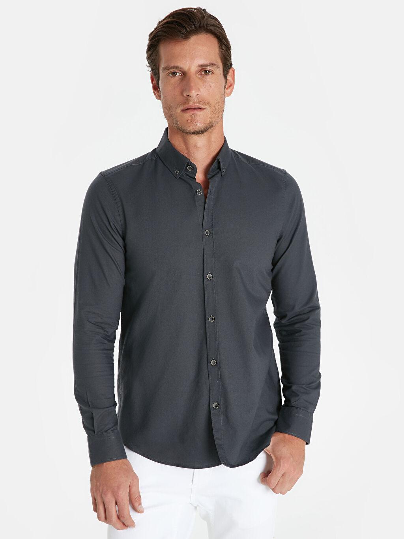 Antrasit Slim Fit Oxford Basic Gömlek 9W1096Z8 LC Waikiki