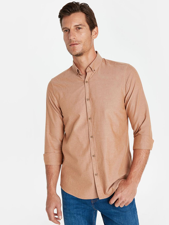 %100 Pamuk Dar Düz Uzun Kol Gömlek Düğmeli Slim Fit Oxford Basic Gömlek