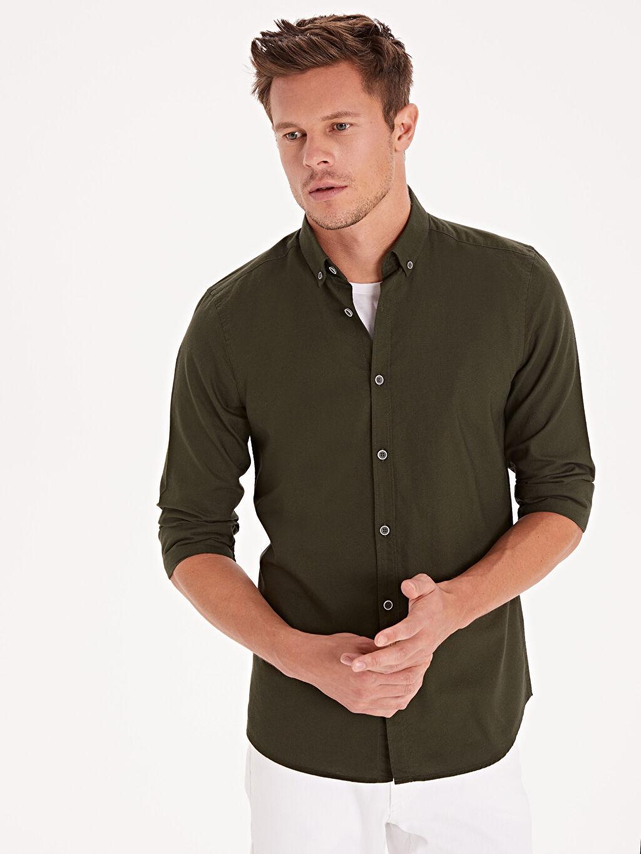 Yeşil Slim Fit Oxford Basic Gömlek 9W1096Z8 LC Waikiki