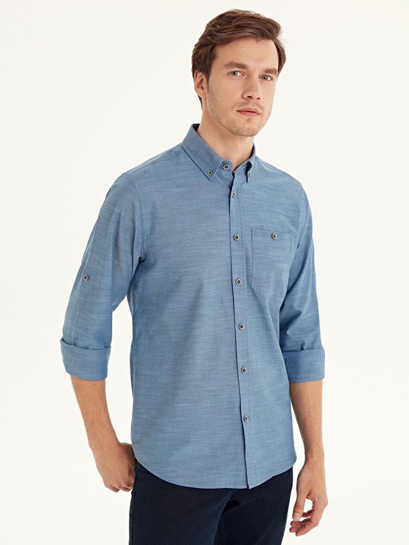 Lacivert Regular Fit Basic Gömlek 9W1097Z8 LC Waikiki