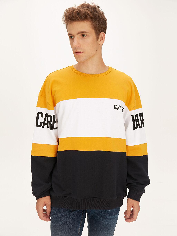 %80 Pamuk %20 Polyester  Bisiklet Yaka Baskılı Sweatshirt