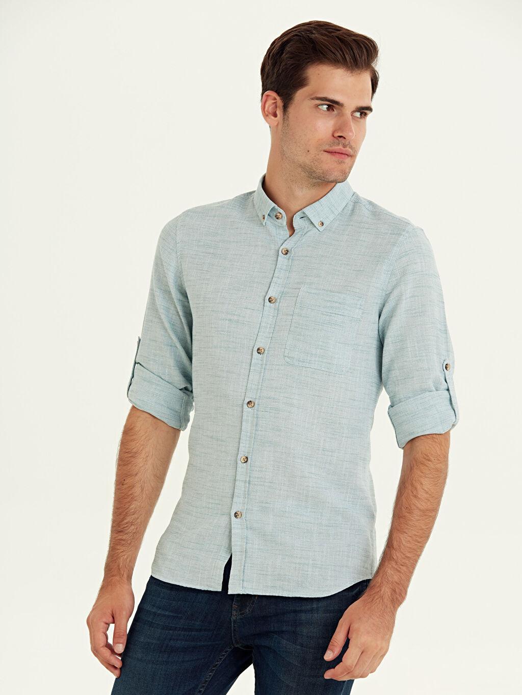 %100 Pamuk Uzun Kol Desenli En Dar Gömlek Düğmeli Ekstra Dar Kalıp Armürlü Uzun Kollu Gömlek