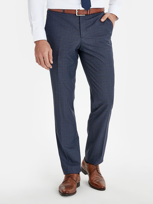 %67 Polyester %33 Viskon %100 Polyester  Normal Kalıp Ekose Takım Elbise Pantolonu