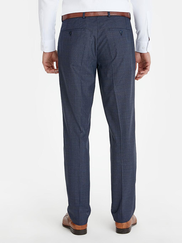 Erkek Normal Kalıp Ekose Takım Elbise Pantolonu