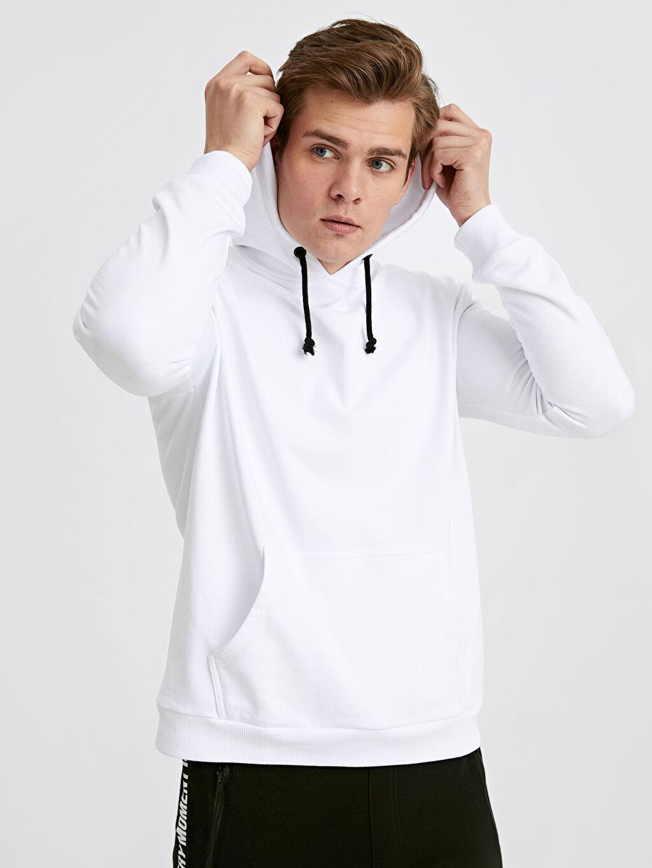 Beyaz  Kapüşonlu Basic Kalın Sweatshirt 9W2347Z8 LC Waikiki
