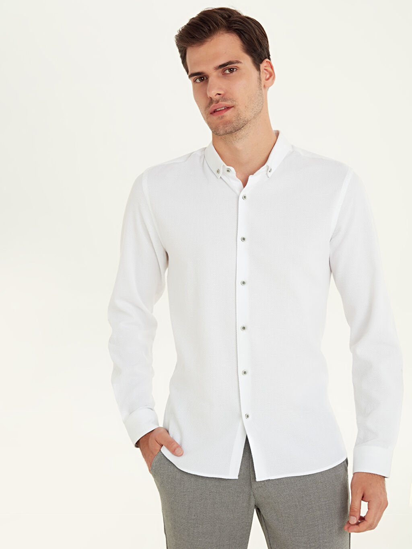 Beyaz Slim Fit Armürlü Uzun Kollu Poplin Gömlek 9W2387Z8 LC Waikiki
