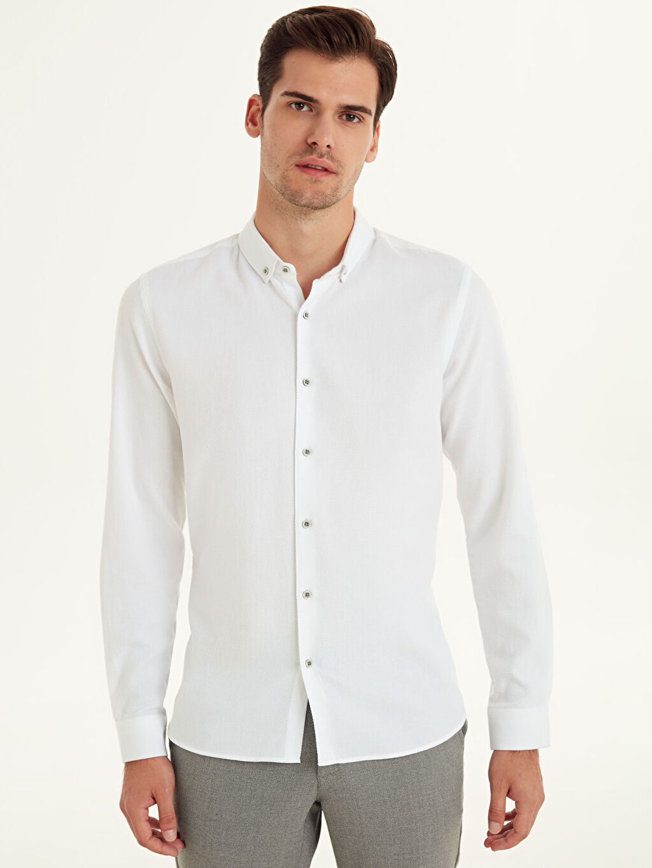 %100 Pamuk Desenli Uzun Kol Gömlek Düğmeli Dar Slim Fit Armürlü Uzun Kollu Poplin Gömlek