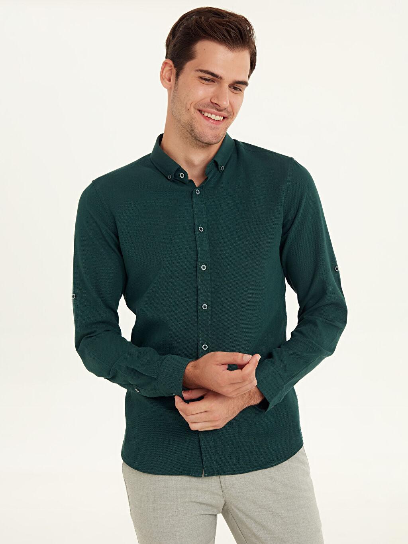 Yeşil Slim Fit Armürlü Uzun Kollu Poplin Gömlek 9W2388Z8 LC Waikiki