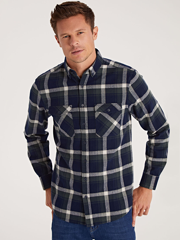 %100 Pamuk Ekoseli Gömlek Düğmeli Normal Uzun Kol Regular Fit Ekoseli Uzun Kollu Gömlek