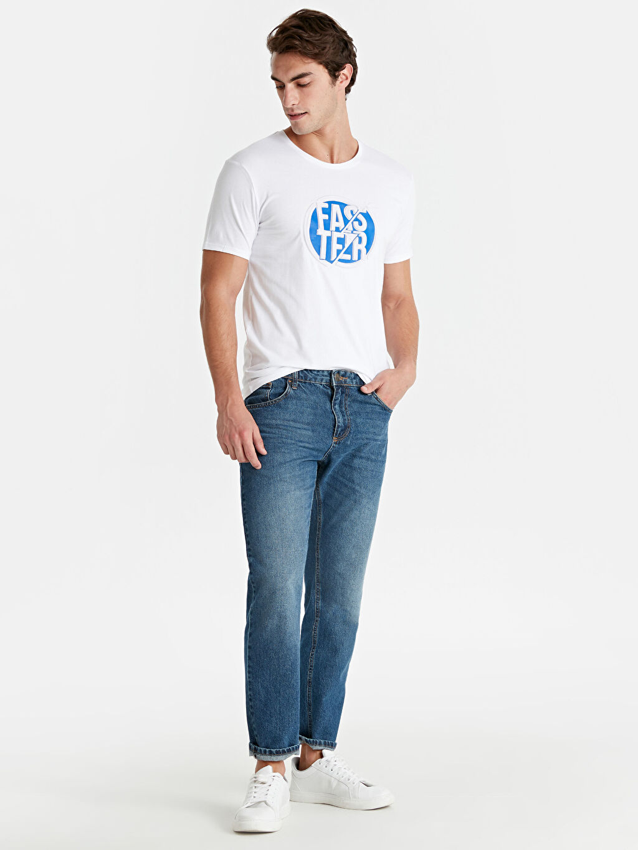 Erkek Slim Fit Bisiklet Yaka Baskılı Kısa Kollu Pamuklu Tişört