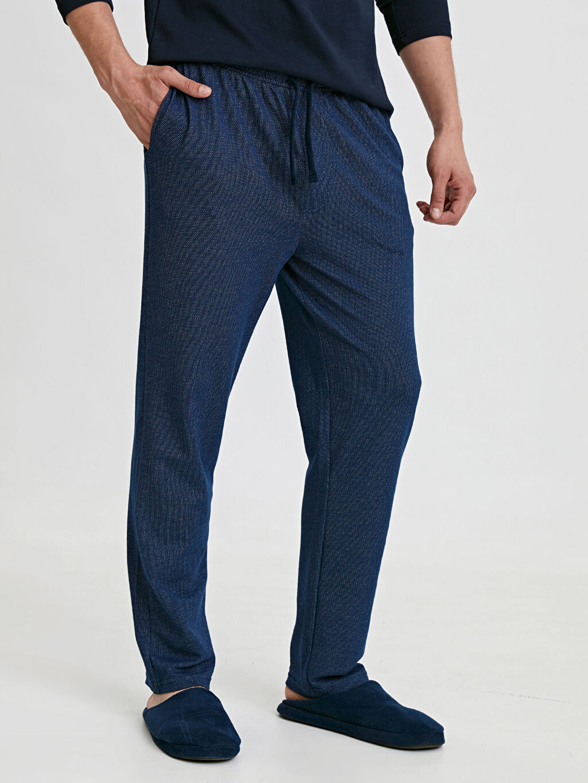 %76 Pamuk %24 Polyester Standart Pijamalar Standart Kalıp Jakarlı Pijama Alt