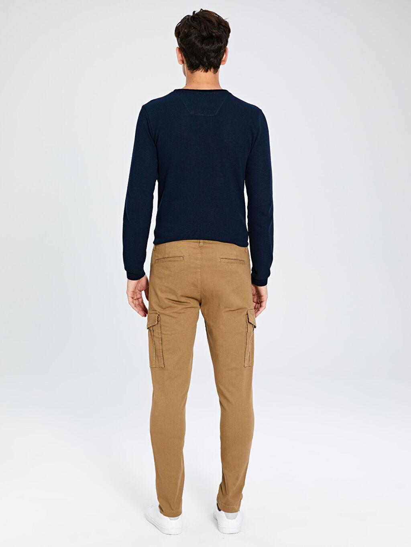Erkek Slim Fit Gabardin Kargo Pantolon