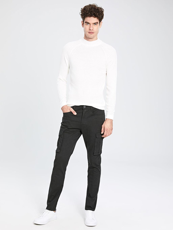 %97 Pamuk %3 Elastan Normal Bel Dar Pilesiz Pantolon Slim Fit Gabardin Kargo Pantolon