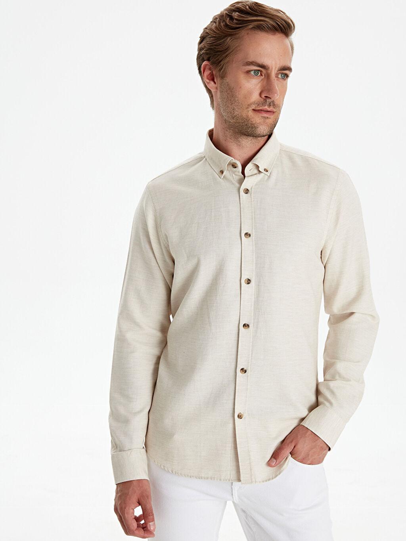 Bej Slim Fit Armürlü Uzun Kollu Gömlek 9W7649Z8 LC Waikiki