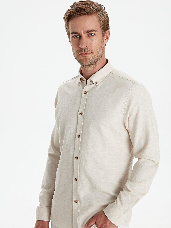 %66 Pamuk %34 Poliester Dar Düz Uzun Kol Gömlek Düğmeli Slim Fit Armürlü Uzun Kollu Gömlek