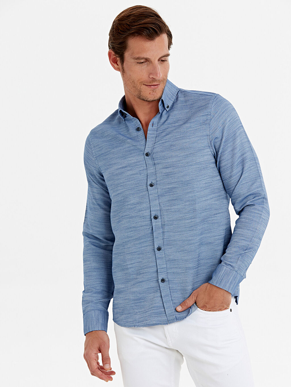Mavi Slim Fit Armürlü Uzun Kollu Gömlek 9W7649Z8 LC Waikiki