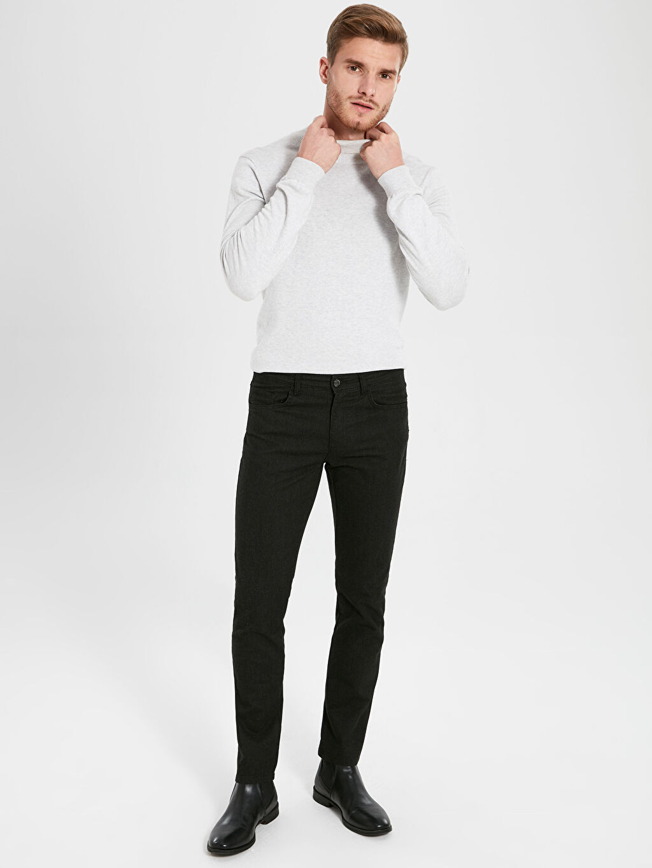 %48 Pamuk %32 Poliester %17 Viskoz %3 Elastan Normal Bel Dar Pantolon Slim Fit Armürlü Pantolon