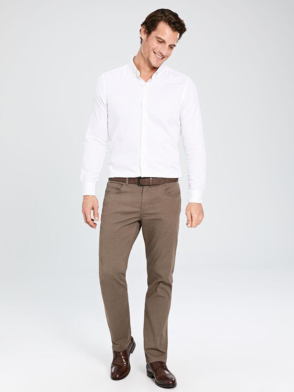 %80 Pamuk %17 Polyester %3 Elastan Normal Bel Normal Pilesiz Pantolon Standart Kalıp Armürlü Pantolon