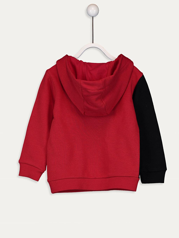 %72 Pamuk %28 Polyester  Erkek Bebek Yazı Baskılı Kapüşonlu Sweatshirt