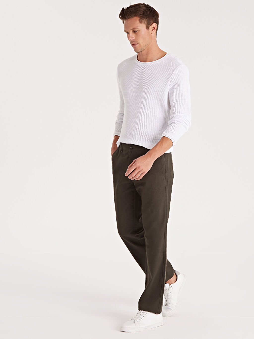 %33 Pamuk %67 Polyester  Normal Kalıp Chino Pantolon