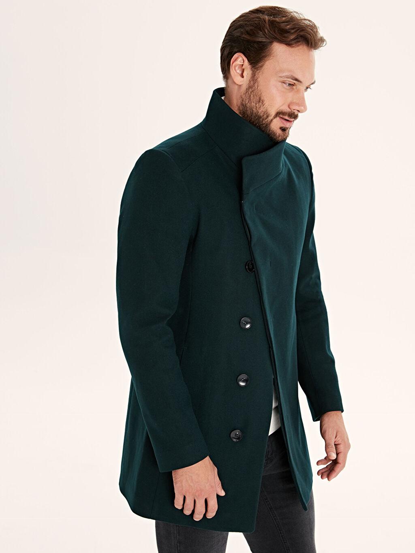 %74 Polyester %3 Elastan %23 Viskon %100 Polyester Dar Uzun Kalın Kaban Slim Fit Kalın Kaşe Kaban