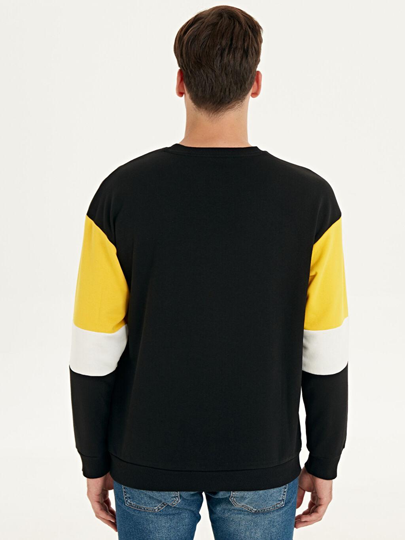 %69 Pamuk %31 Polyester  Bisiklet Yaka Baskılı Sweatshirt