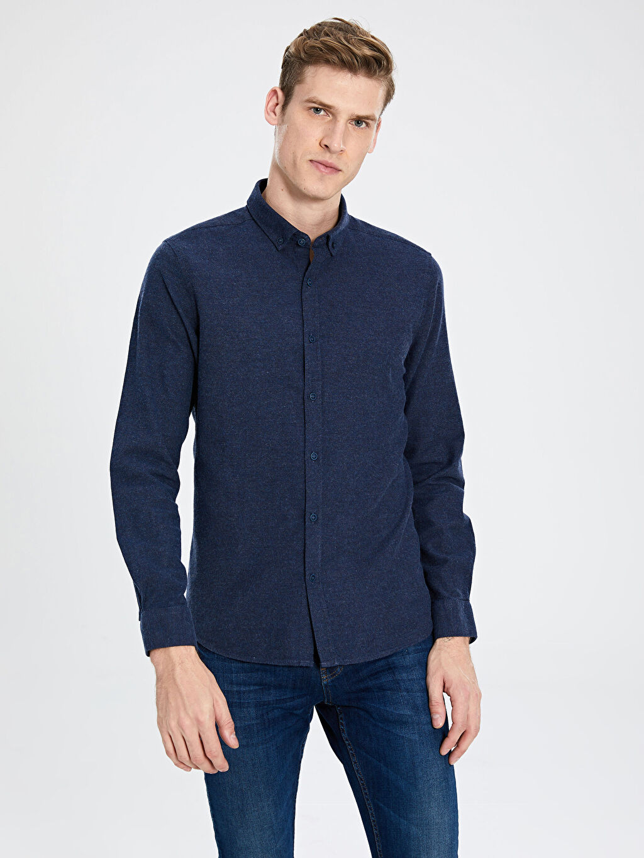 İndigo Slim Fit Uzun Kollu Armürlü Gömlek 9WH349Z8 LC Waikiki