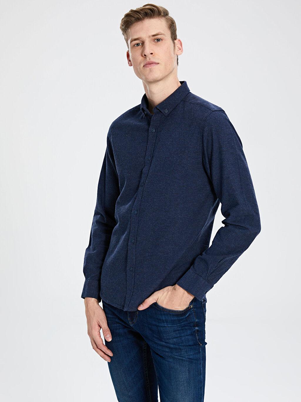 %100 Pamuk Dar Düz Uzun Kol Gömlek Düğmeli Slim Fit Uzun Kollu Armürlü Gömlek