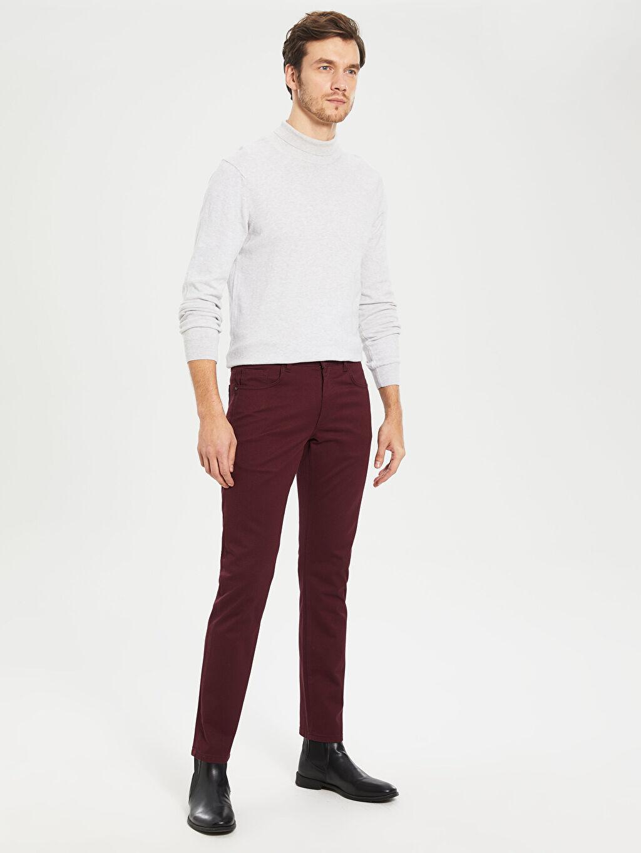 Bordo Slim Fit Armürlü Pantolon 9WH684Z8 LC Waikiki