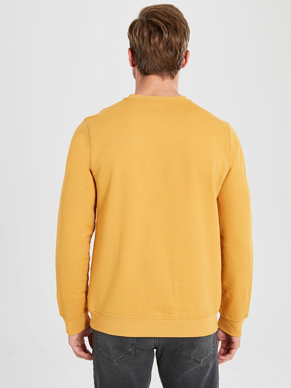 %49 Pamuk %51 Polyester Rahat Kalıp Bisiklet Yaka Basic Sweatshirt