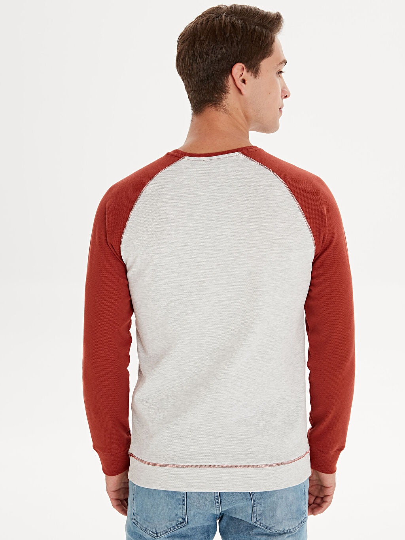 %30 Pamuk %69 Polyester %1 Elastan Bisiklet Yaka Uzun Kollu Sweatshirt