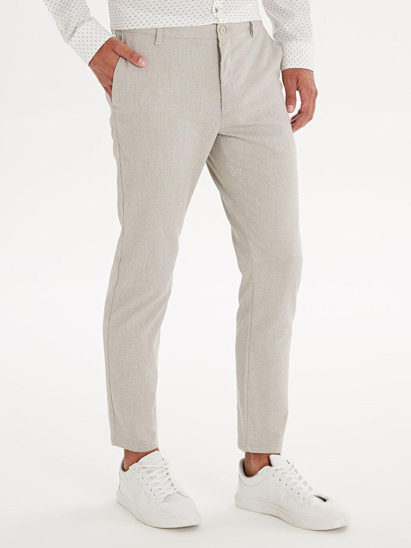 %64 Polyester %2 Elastan %34 Viskon Dar Normal Bel Pilesiz Pantolon Slim Fit Poliviskon Bilek Boy Pantolon