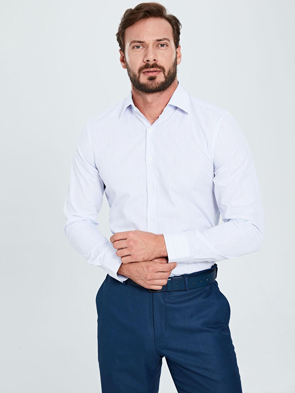 Mavi Slim Fit Çizgili Uzun Kollu Poplin Gömlek 9WL569Z8 LC Waikiki