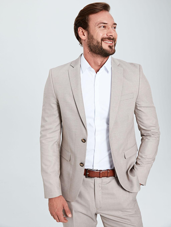 %72 Poliester %27 Viskoz %1 Elastan %100 Polyester  Ekstra Dar Kalıp Desenli Takım Elbise Ceketi