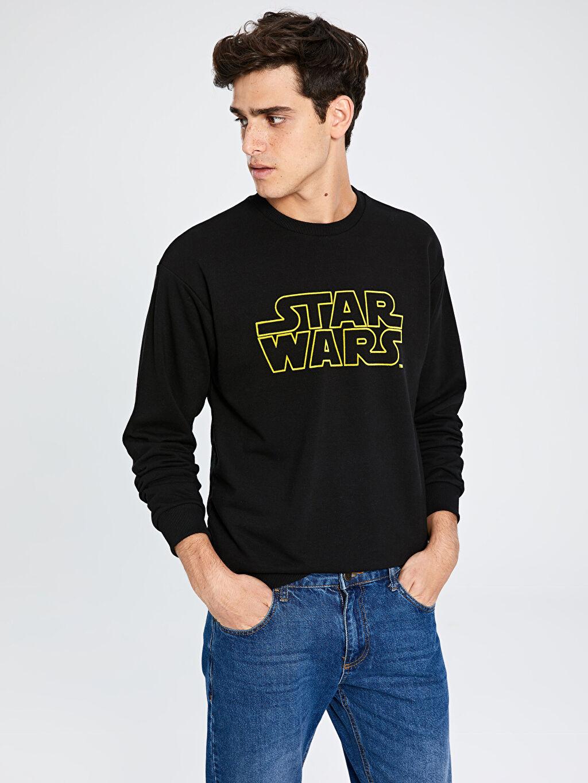 %42 Pamuk %58 Polyester  Bisiklet Yaka Star Wars Baskılı Sweatshirt