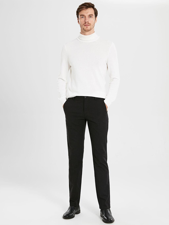 Kahverengi Standart Kalıp Armürlü Takım Elbise Pantolonu 9WN722Z8 LC Waikiki