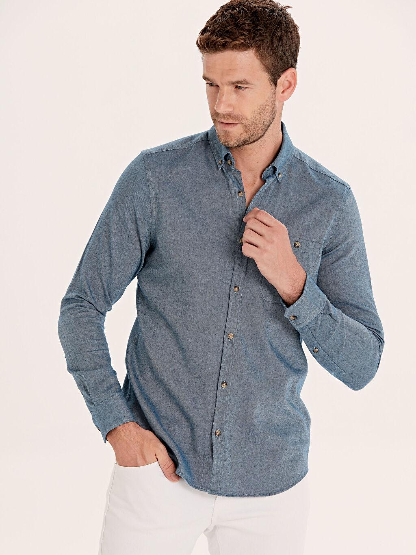 Mavi Slim Fit Uzun Kollu Gabardin Gömlek 9WN810Z8 LC Waikiki