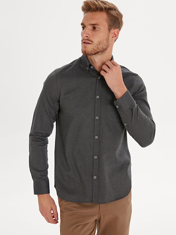 Antrasit Slim Fit Uzun Kollu Gabardin Gömlek 9WN810Z8 LC Waikiki