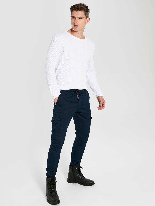%96 Pamuk %4 Elastan Normal Bel Dar Pilesiz Pantolon Slim Fit Gabardin Kargo Pantolon