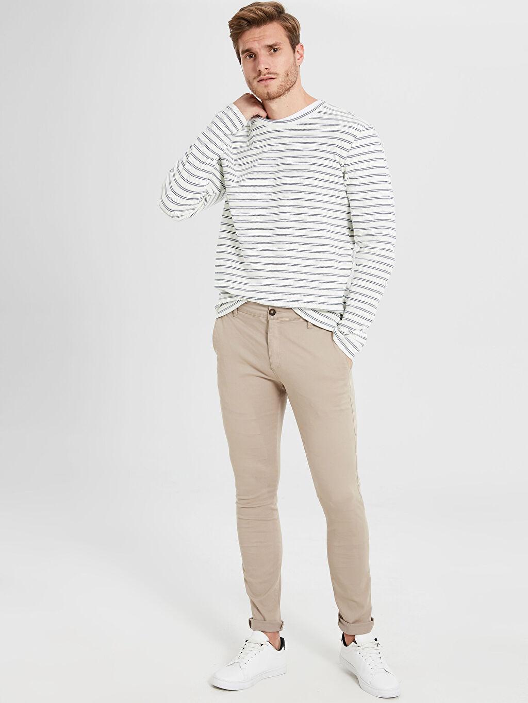 %65 Pamuk %31 Polyester %4 Elastan Normal Pilesiz Pantolon Normal Bel Standart Kalıp Armürlü Pantolon