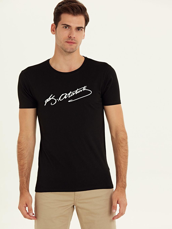 Siyah Atatürk İmzası Baskılı Tişört 9WO986Z8 LC Waikiki
