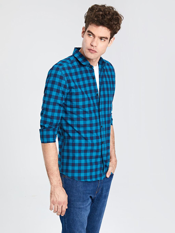 %52 Pamuk %48 Polyester Uzun Kol Ekoseli Gömlek Düğmeli Ekstra Slim Fit Ekose Gömlek